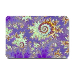 Sea Shell Spiral, Abstract Violet Cyan Stars Small Door Mat by DianeClancy