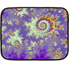 Sea Shell Spiral, Abstract Violet Cyan Stars Mini Fleece Blanket (two Sided) by DianeClancy