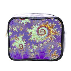 Sea Shell Spiral, Abstract Violet Cyan Stars Mini Travel Toiletry Bag (one Side) by DianeClancy