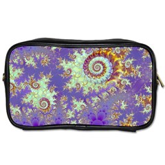 Sea Shell Spiral, Abstract Violet Cyan Stars Travel Toiletry Bag (two Sides) by DianeClancy