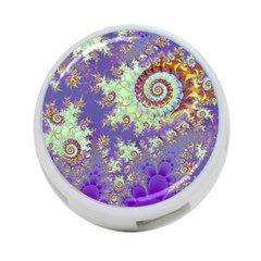 Sea Shell Spiral, Abstract Violet Cyan Stars 4 Port Usb Hub (two Sides) by DianeClancy