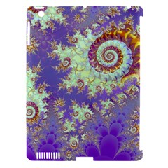 Sea Shell Spiral, Abstract Violet Cyan Stars Apple Ipad 3/4 Hardshell Case (compatible With Smart Cover)