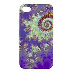 Sea Shell Spiral, Abstract Violet Cyan Stars Apple Iphone 4/4s Premium Hardshell Case by DianeClancy