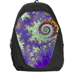 Sea Shell Spiral, Abstract Violet Cyan Stars Backpack Bag by DianeClancy