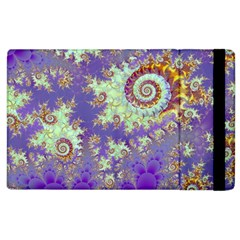 Sea Shell Spiral, Abstract Violet Cyan Stars Apple Ipad 3/4 Flip Case by DianeClancy