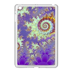 Sea Shell Spiral, Abstract Violet Cyan Stars Apple Ipad Mini Case (white) by DianeClancy