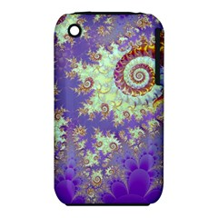 Sea Shell Spiral, Abstract Violet Cyan Stars Apple Iphone 3g/3gs Hardshell Case (pc+silicone) by DianeClancy