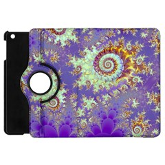 Sea Shell Spiral, Abstract Violet Cyan Stars Apple Ipad Mini Flip 360 Case by DianeClancy