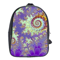 Sea Shell Spiral, Abstract Violet Cyan Stars School Bag (xl) by DianeClancy