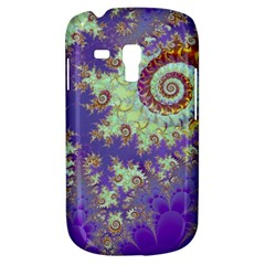 Sea Shell Spiral, Abstract Violet Cyan Stars Samsung Galaxy S3 Mini I8190 Hardshell Case by DianeClancy