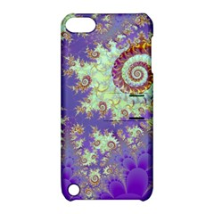 Sea Shell Spiral, Abstract Violet Cyan Stars Apple Ipod Touch 5 Hardshell Case With Stand by DianeClancy