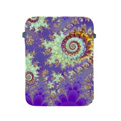 Sea Shell Spiral, Abstract Violet Cyan Stars Apple Ipad Protective Sleeve by DianeClancy
