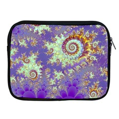 Sea Shell Spiral, Abstract Violet Cyan Stars Apple Ipad Zippered Sleeve by DianeClancy