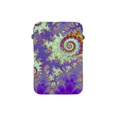 Sea Shell Spiral, Abstract Violet Cyan Stars Apple Ipad Mini Protective Sleeve by DianeClancy