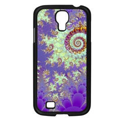 Sea Shell Spiral, Abstract Violet Cyan Stars Samsung Galaxy S4 I9500/ I9505 Case (black) by DianeClancy