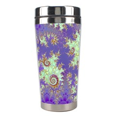 Sea Shell Spiral, Abstract Violet Cyan Stars Stainless Steel Travel Tumbler by DianeClancy