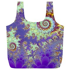 Sea Shell Spiral, Abstract Violet Cyan Stars Reusable Bag (XL) by DianeClancy