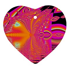 Magenta Boardwalk Carnival, Abstract Ocean Shimmer Heart Ornament by DianeClancy