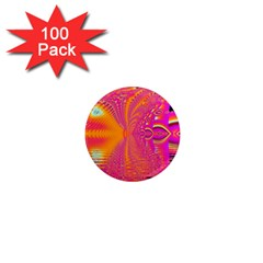 Magenta Boardwalk Carnival, Abstract Ocean Shimmer 1  Mini Button Magnet (100 Pack) by DianeClancy