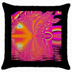 Magenta Boardwalk Carnival, Abstract Ocean Shimmer Black Throw Pillow Case by DianeClancy