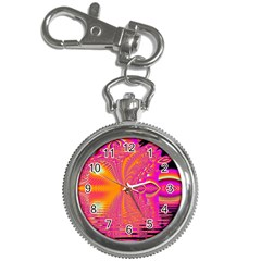 Magenta Boardwalk Carnival, Abstract Ocean Shimmer Key Chain Watch by DianeClancy