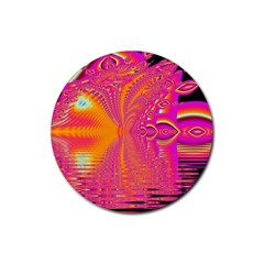 Magenta Boardwalk Carnival, Abstract Ocean Shimmer Drink Coasters 4 Pack (round) by DianeClancy
