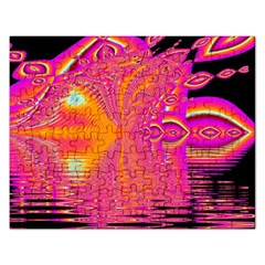 Magenta Boardwalk Carnival, Abstract Ocean Shimmer Jigsaw Puzzle (rectangle) by DianeClancy