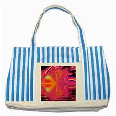 Magenta Boardwalk Carnival, Abstract Ocean Shimmer Blue Striped Tote Bag by DianeClancy