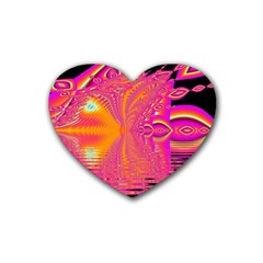 Magenta Boardwalk Carnival, Abstract Ocean Shimmer Drink Coasters (heart) by DianeClancy