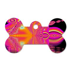 Magenta Boardwalk Carnival, Abstract Ocean Shimmer Dog Tag Bone (one Sided) by DianeClancy