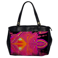 Magenta Boardwalk Carnival, Abstract Ocean Shimmer Oversize Office Handbag (one Side) by DianeClancy