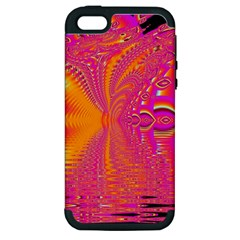 Magenta Boardwalk Carnival, Abstract Ocean Shimmer Apple Iphone 5 Hardshell Case (pc+silicone) by DianeClancy