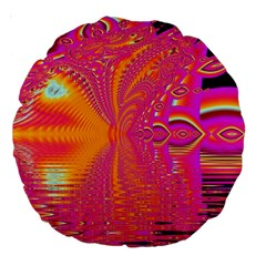Magenta Boardwalk Carnival, Abstract Ocean Shimmer 18  Premium Round Cushion  by DianeClancy