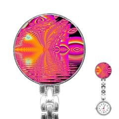 Magenta Boardwalk Carnival, Abstract Ocean Shimmer Stainless Steel Nurses Watch by DianeClancy