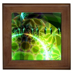 Dawn Of Time, Abstract Lime & Gold Emerge Framed Ceramic Tile