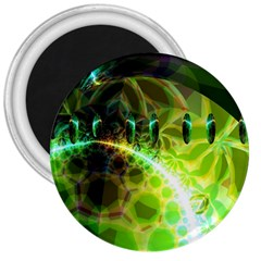 Dawn Of Time, Abstract Lime & Gold Emerge 3  Button Magnet by DianeClancy