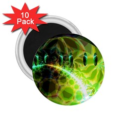 Dawn Of Time, Abstract Lime & Gold Emerge 2 25  Button Magnet (10 Pack) by DianeClancy