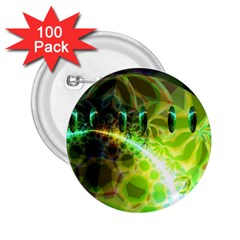 Dawn Of Time, Abstract Lime & Gold Emerge 2 25  Button (100 Pack) by DianeClancy