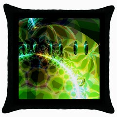 Dawn Of Time, Abstract Lime & Gold Emerge Black Throw Pillow Case by DianeClancy