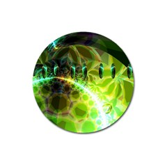Dawn Of Time, Abstract Lime & Gold Emerge Magnet 3  (round) by DianeClancy