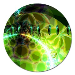 Dawn Of Time, Abstract Lime & Gold Emerge Magnet 5  (round) by DianeClancy