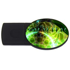Dawn Of Time, Abstract Lime & Gold Emerge 4gb Usb Flash Drive (oval) by DianeClancy