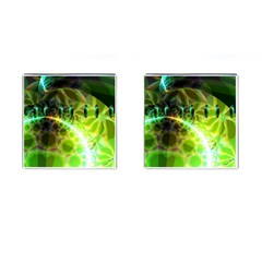 Dawn Of Time, Abstract Lime & Gold Emerge Cufflinks (square) by DianeClancy
