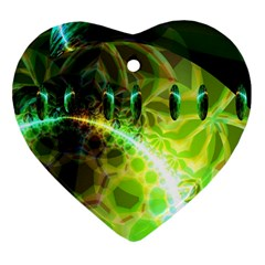 Dawn Of Time, Abstract Lime & Gold Emerge Heart Ornament (two Sides) by DianeClancy