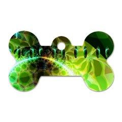 Dawn Of Time, Abstract Lime & Gold Emerge Dog Tag Bone (one Sided) by DianeClancy