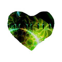 Dawn Of Time, Abstract Lime & Gold Emerge 16  Premium Heart Shape Cushion  by DianeClancy
