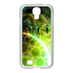 Dawn Of Time, Abstract Lime & Gold Emerge Samsung Galaxy S4 I9500/ I9505 Case (white) by DianeClancy