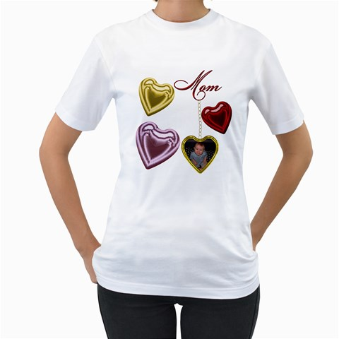 Mom Heart Locket Women s T Shirt Single Side By Chere s Creations   Women s T Shirt (white)    982jq6xvni5h   Www Artscow Com Front
