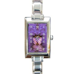 Artsy Purple Awareness Butterfly Rectangular Italian Charm Watch by FunWithFibro