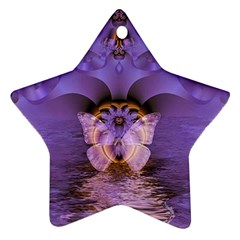 Artsy Purple Awareness Butterfly Star Ornament by FunWithFibro